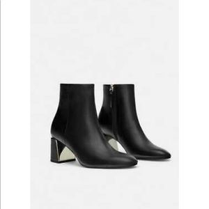 Zara Black Faux Leather Booties Gold Metal